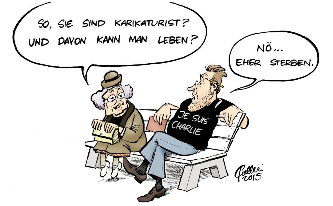 Karikatur über das Leben der Satiriker.