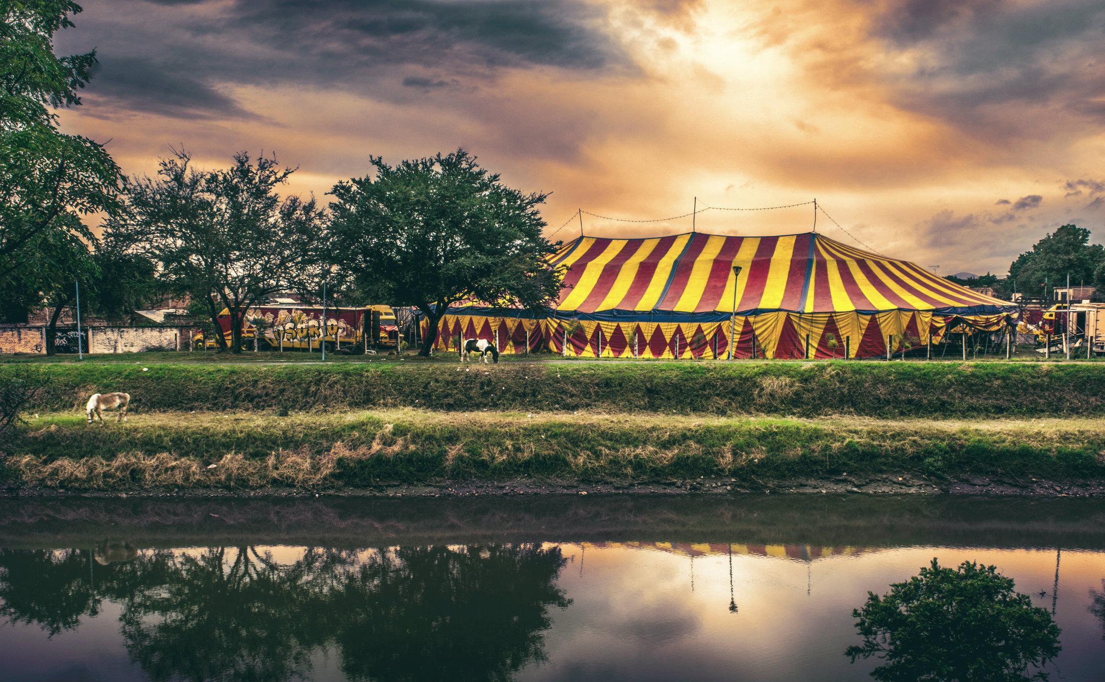 Ein Zirkus am Ufer